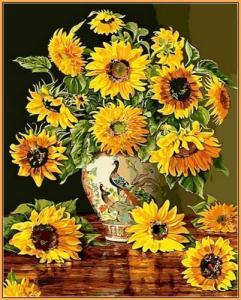 Картины по номерам Подсолнухи в вазе с павлинами (в раме)