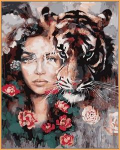Картины по номерам Глаза тигра (в раме)