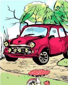 Картины по номерам Красное нарисовано авто