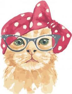Картины по номерам Рыжий котик в очках