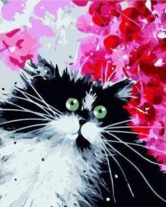 Картины по номерам Черно-белый котик