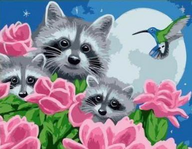 Картины по номерам Енотиком среди цветов