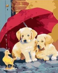 Картины по номерам Друзья под зонтиком