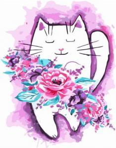 Картины по номерам Акварельник котик с цветами