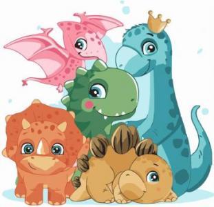 Картины по номерам Маленькие друзья динозавры