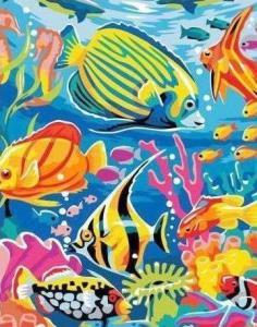 Картины по номерам Разноцветные рыбки