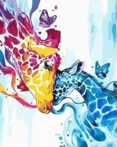 Картины по номерам Цветные жирафы