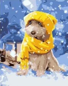 Картины по номерам Собачка в желтой шапочке