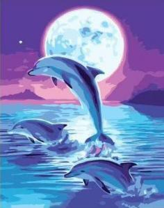 Картины по номерам Стая дельфинов ночью