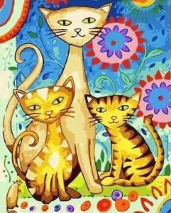 Картины по номерам Красочное трио котов