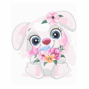 Картины по номерам Маленький зайчик с цветами