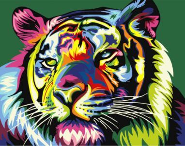 Картины по номерам Поп-арт красочный  тигр