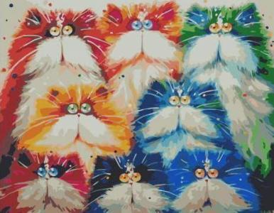 Картины по номерам Красочные акварельные котики