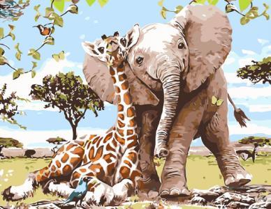Картины по номерам Слоненок и жираф - лучшие друзья