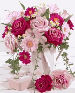 Картины по номерам Букет цветов в розовых тонах