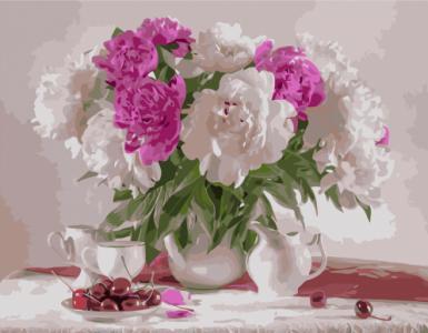 Картины по номерам Бело-розовый букет пионов