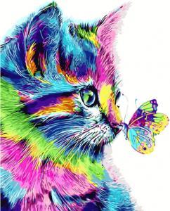 Картины по номерам Цветной кот с бабочкой