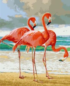 Картины по номерам Три фламинго