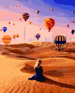 Картины по номерам Воздушные шары среди пустыни