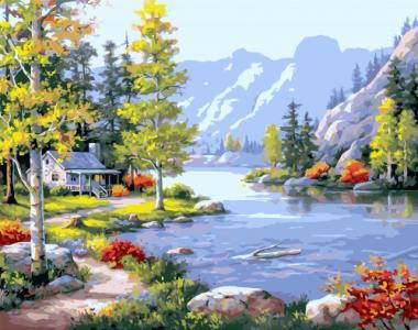 Картины по номерам Пейзаж с яркими акцентами