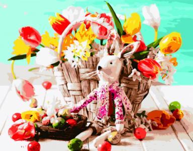 Картины по номерам Игрушка зайченка возле корзины цветов