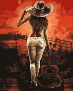 Картины по номерам Девушка с гитарой
