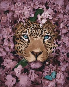 Картины по номерам Леопард среди цветов