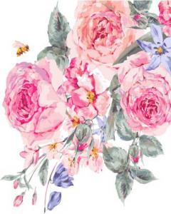 Картины по номерам Розовые розы на белом фоне
