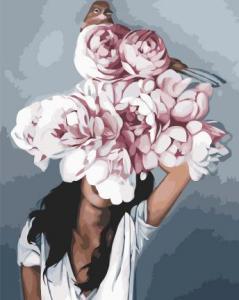 Картины по номерам Девушка с розовыми пионами