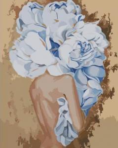 Картины по номерам Девушки с голубыми пионами
