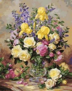 Картины по номерам Желтые ирисы и розы
