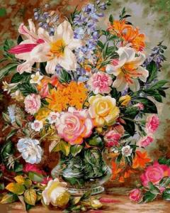 Картины по номерам Букет из роз и лилий