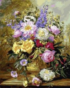 Картины по номерам Букет белых и желтых роз