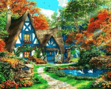 Картины по номерам Домик на опушке леса