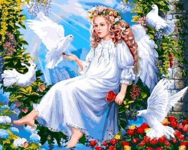 Картины по номерам Ангел и голуби