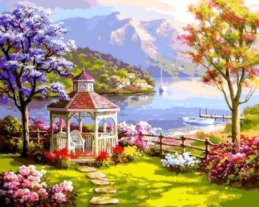 Картины по номерам Беседка у озера