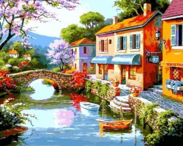 Картины по номерам Дома вдоль реки