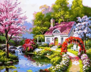 Картины по номерам Весенний коттедж