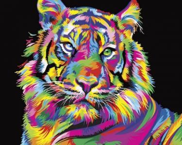 Картины по номерам Радужный тигр