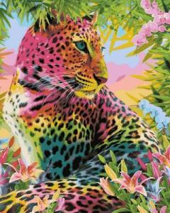 Картины по номерам Разноцветный гепард
