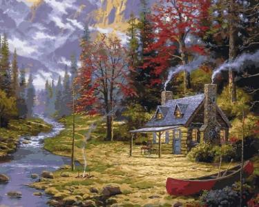 Картины по номерам Домик у реки