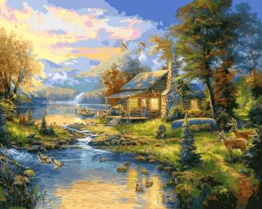 Картины по номерам Дом у озера