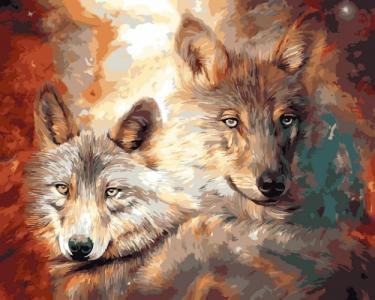 Картины по номерам Волк с волчицей