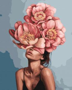 Картины по номерам Девушка в цветущих пионах