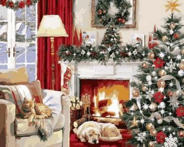 Картины по номерам Рождественский вечер у камина