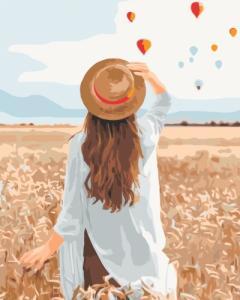Картины по номерам Путешественница в ржаном поле