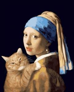 Картины по номерам Девушка с жемчужной сережкой с котом