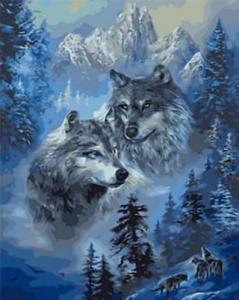 Картины по номерам Зимние волки