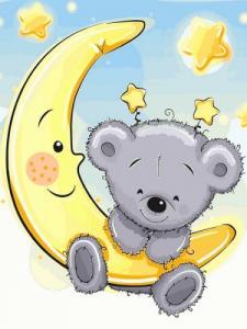 Картины по номерам Мишка на луне