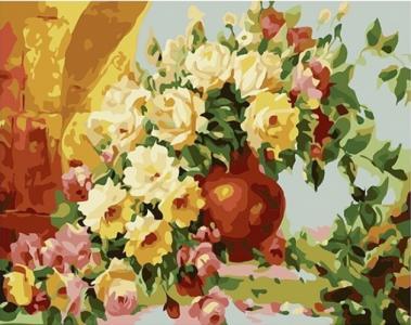 Картины по номерам Цветы в вазе на столе